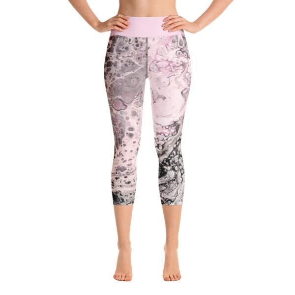 Pretty Pink Capri Leggings, High Waist Yoga Pants